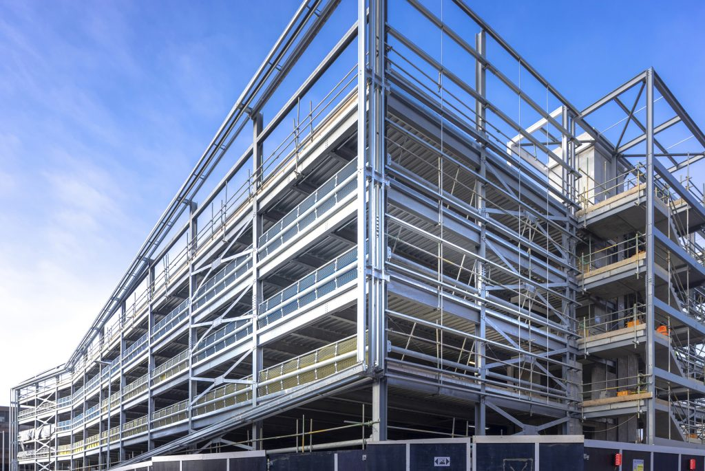 car park build using steel frame and composite steel decking