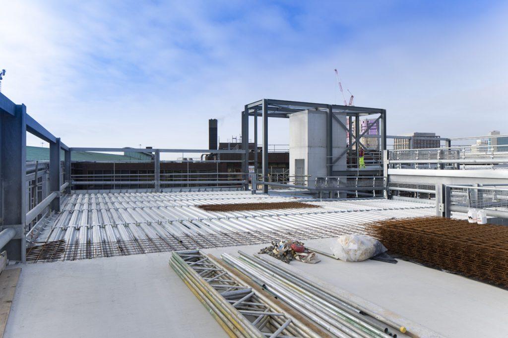 car park build using steel frame and composite steel decking