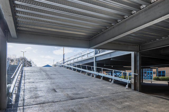the car park ramp on Metpark UK's raised deck car park which they designed and built