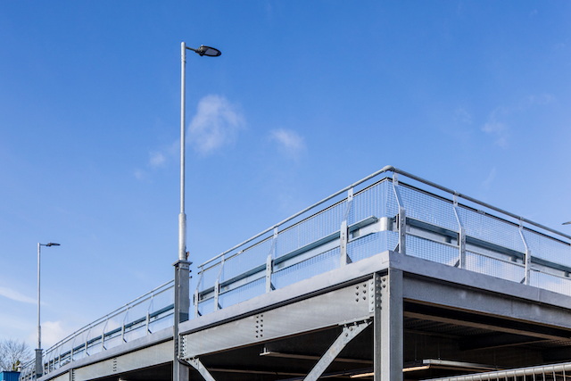 car park safety barriers on a raised deck car park in Fareham, designed and built by Metpark UK