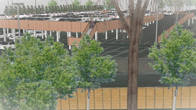 Sketch of a new raised deck car park in Norwich