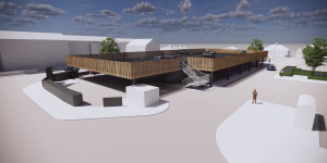 raised deck car park to be constructed using steel frame and composite car park steel decking installed by metpark