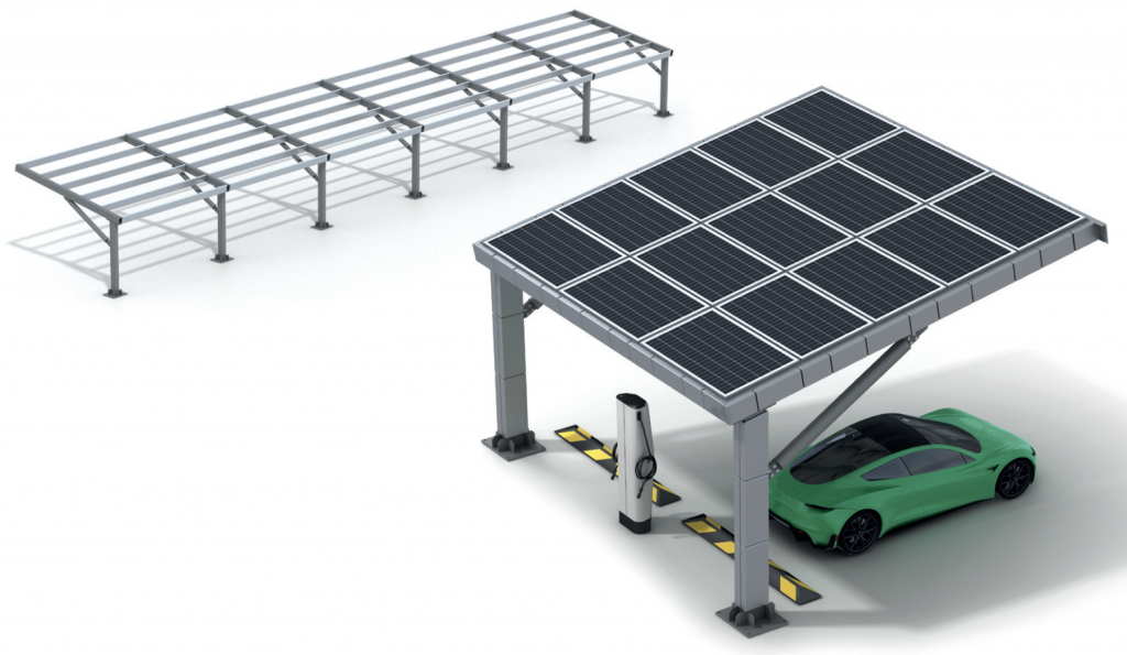 A CGI of a Solar Powered Car Port with EV Charger Available from Metpark UK